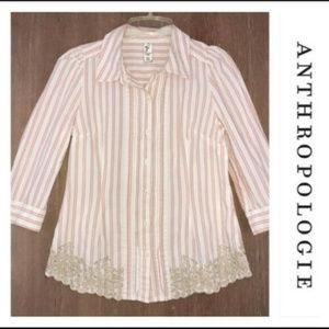 Floreat Anthropologie Women's Striped Shirt Top